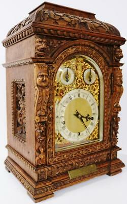 Beautiful Carved Oak Musical Bracket Clock Gothic Carvings Westminster Chime W&H