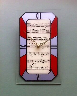 Music theme Art Deco style wall clock: dark red/silver