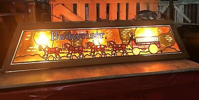 VINTAGE BUDWEISER POOL Table Light Stained Glass Look Made Out Of - Vintage budweiser pool table light
