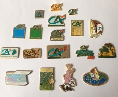 Lot 18 Pin's CREDIT AGRICOLE French BANK Sailing Jeantot Coq FFT Football