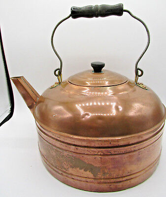 Revere Ware Copper Tea Kettle w/ Wooden Bail Handle Old / Used