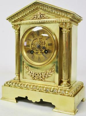 Antique French Ormolu Mantel Clock Architectural Bronze 8 day Striking - S Marti