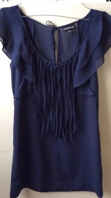Warehouse navy Mini Dress / Tunic / Long Top. Tassels. Chiffon. UK 8 Worn 2or3x