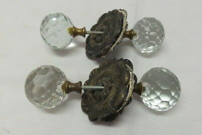 2 Pair Vintage Antique Facet Cut Glass Round Door Knobs