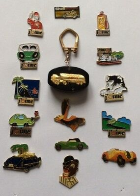 Lot 13 Pin's + Vintage Thick Keyring Shell Carburant Gas Fuel