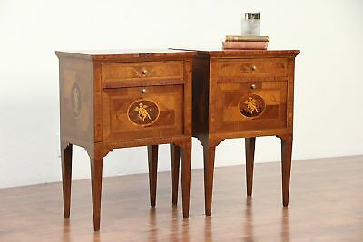 Pair of Antique Marquetry & Angels Nightstands or End Tables, Italy #29360