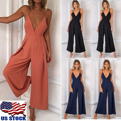 Womens Summer Strappy V-Neck Backless Wide Leg Pants Jumpsuit Romper Clubwear US