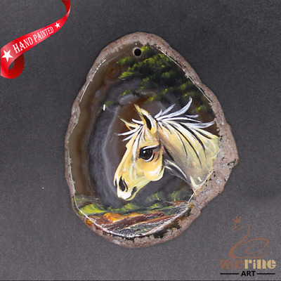 Hand Painted Horse Agate Slice Pendant Necklace D1906 0805