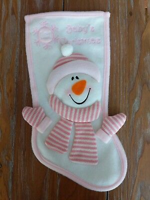baby girl first Christmas stocking snowman pink white *cute* 14 in xmas