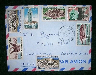 1965 Air Mail Cover With 7 Different Stamps From Senegal (France) To Usa.