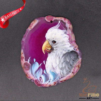 Hand Painted Parrot Gemstone Bead Pendant Necklace D1906 0938