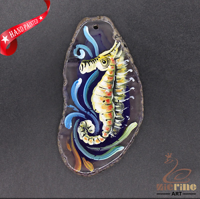 Hand Painted Hippocampus Jewelry Necklace Pendant Necklace D1906 0952