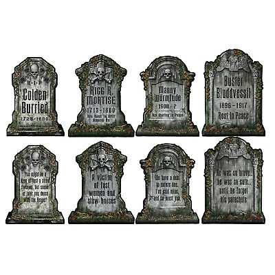 8 Haunted Mansion HALLOWEEN Party WALL Decorations TOMBSTONE Grave Cutouts