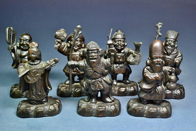 Set of 7 Chinese Antique or Vintage Bronze Lucky Gods, ex-Anita Louise Estate