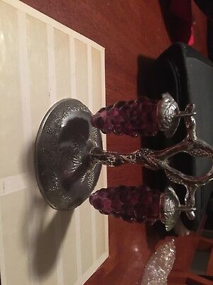A stunning pair of grapes on a vine salt and pepper shakers, plastic