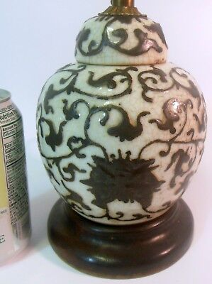 Antique CHINESE Brown &White GINGER JAR VASE as LAMP QING Crackle Glaze