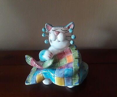 Lacombe Whimsiclay 2002 Aqua Purple Dotted Cat Holding his Patchwork Blanket