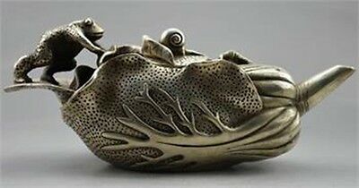 Old Handwork Cupronickel Carved Frog On Cabbage TeaPot w Qianlong Mark