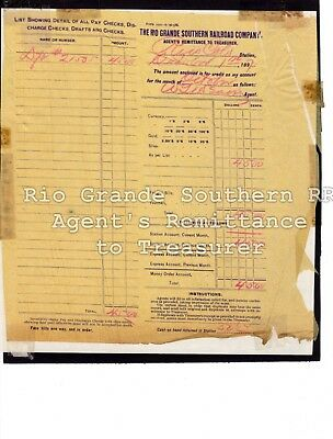 1897 Rio Grande Southern-RGS-Agent's Remittance to Treasure for Rico, CO station