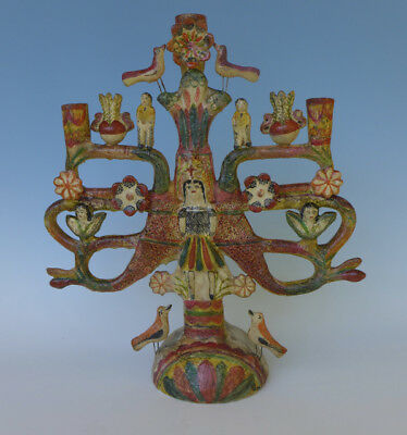 """Vintage Mexican Francisco Flores tree of life candelabra 18 1/4"""" tall"""