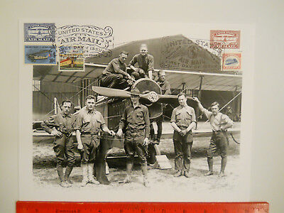Blue & Red Airmail Stamp 100 Anniv. FD May & Aug, 2018 on 1918 Army Photo
