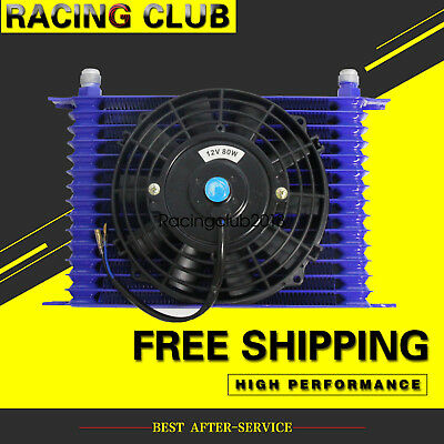 """10AN Engine Transmission Oil Cooler +7"""" Electric Fan Kit Blue Universal 15 Row"""
