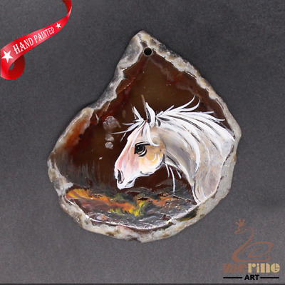 Hand Painted Horse Gemstone Bead Pendant Necklace D1906 0896