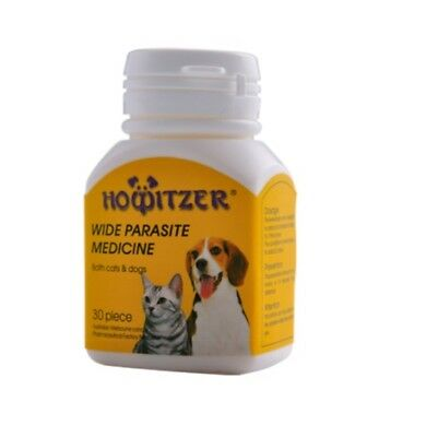 Howitzer Wide Parasite Medicine For Dogs Cats Dewormer 30-120 Tablets