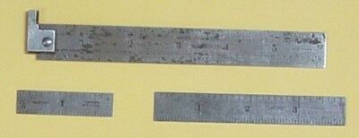 STARRETT  NO. 604 R  Set of 3 RULERS:  6 Inch Hook,  4 inch & 2 inch Straight