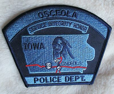 "Osceola Police Dept Shoulder Patch - Iowa - 4 1/4"" x 3 3/8"""