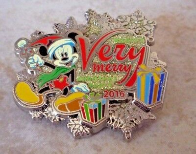 Pin Trading Disney Pins Mickey Mouse Very Merry Christmas Party 2016 3D Present