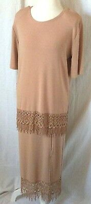 Vintage style3K Fashion women dress  LARGE STRETCHY beige w/pink embroidertrim