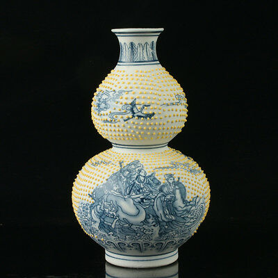 China Porcelain Hand-Painted Eight Immortals Vase Mark As The Qianlong Period .a