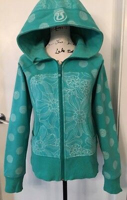 Lululemon 12 Remix Jacket Hoodie - Teal with Dot & Floral White Details EUC