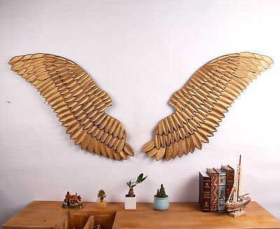 Pair of Vintage Distressed Gold Metal Angel Wings Hanging Wall Décor 48'' x 17''