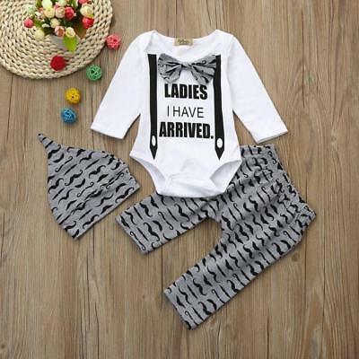 3pcs Toddler Infant Baby Kids Boys Letter Clothes Set Romper+Pants+Hat Outfits