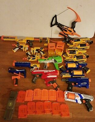 Nerf Gun Lot W/Clips & Ammo Boxes