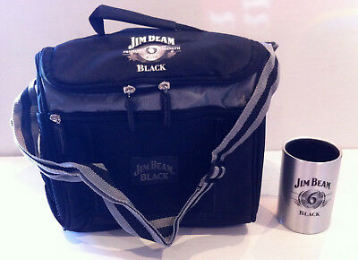 Rare Jim Beam Black Large Stubby Can Cooler Bag & Jim Beam Black Holder Cooler
