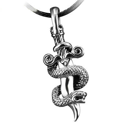 Mens Punk Gothic Style Sword Snake 925 Sterling Silver Pendant With Rope Chain