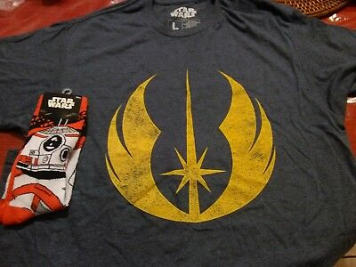 Unisex Size Large ~ Star Wars Jedi Shirt ~ Loot Crate DX exclusive + BB 8 Socks