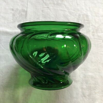 Vintage Napco Forest Green Glass Vase Swirl Cleveland Ohio Usa 1192