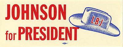 1960 Lyndon Johnson Primary Campaign Auto Window Sticker (2568)