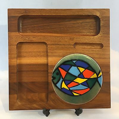 Vintage Mid Century Copper Enamel Cutting Cheese Board Serving Tray Teak Wood