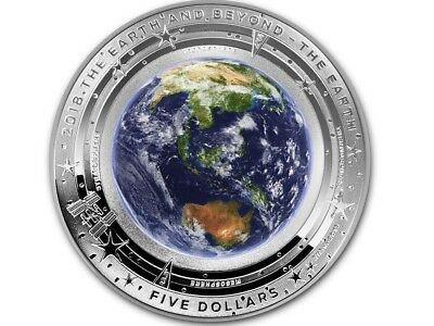 2018 EARTH 1 oz DOMED COLORED SILVER PROOF THE EARTH AND BEYOND SERIES AUSTRALIA