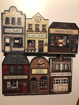 Brandywine Woodcrafts Shelf Sitter Lot Of 6 FDNY Sporting Candy Fish Travel Gour