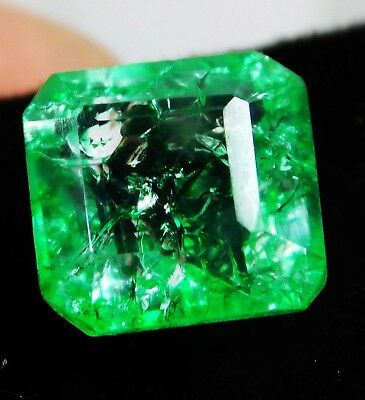 Natural 4.05 Cts. Untreated Radiant Cut Colombian Loose Emerald Gemstone. 9519