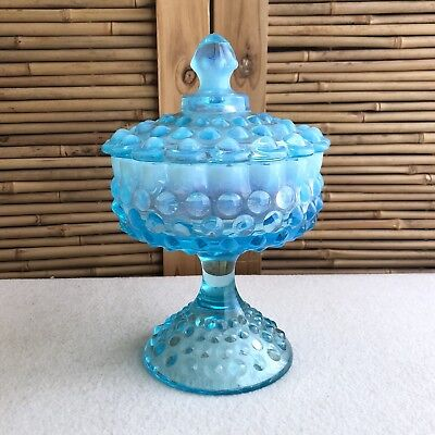 Vintage FENTON Blue OPALINE Glass HOBNAIL Footed CANDY Dish APOTHECARY Lolly JAR