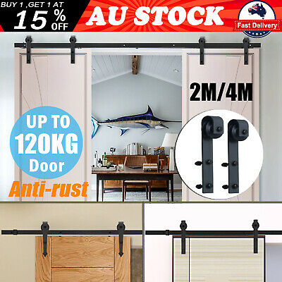 2M/4M Sliding Barn Door Hardware Track Roller Kit Rustic Antique Classic Bedroom