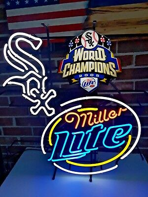 Chicago White Sox Miller Lite 2005 World Series Neon Beer Sign...AUTHENTIC & NOS