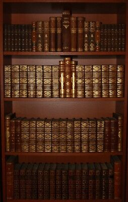 "77 Antique Leather Bound Books - Gold Decoration - K.hamsun - 1854 - 120"" Shelf"